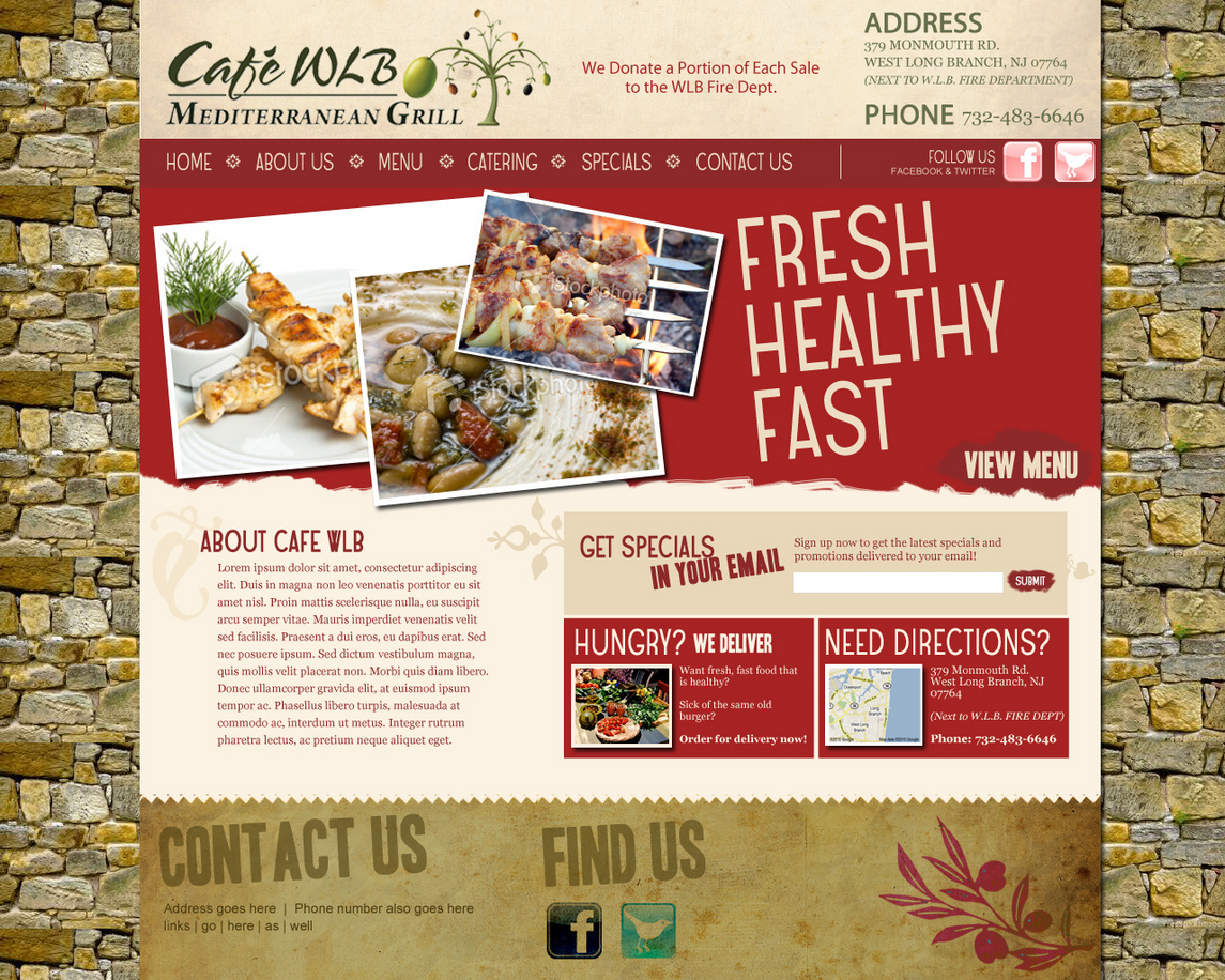 Cafe WLB Food Website Design