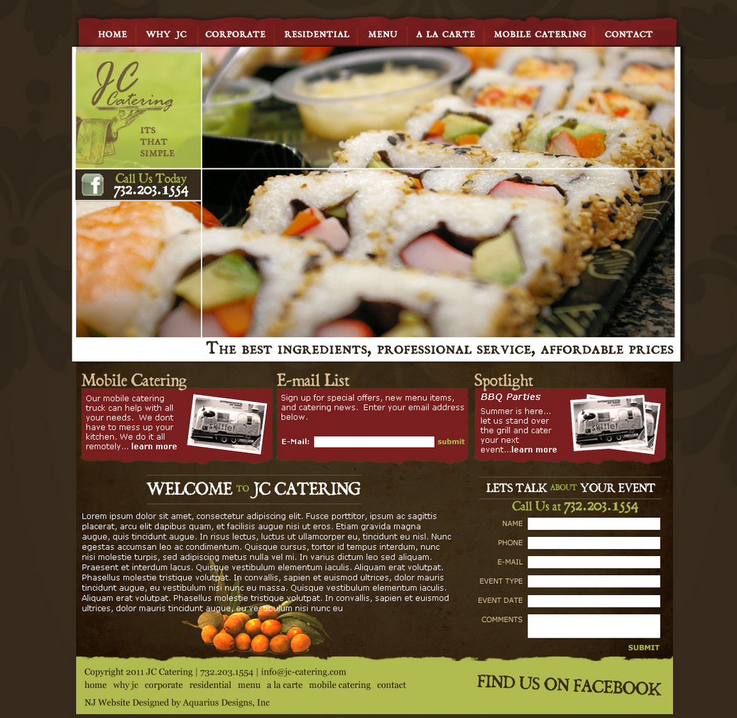 JC Catering - Food Website Design