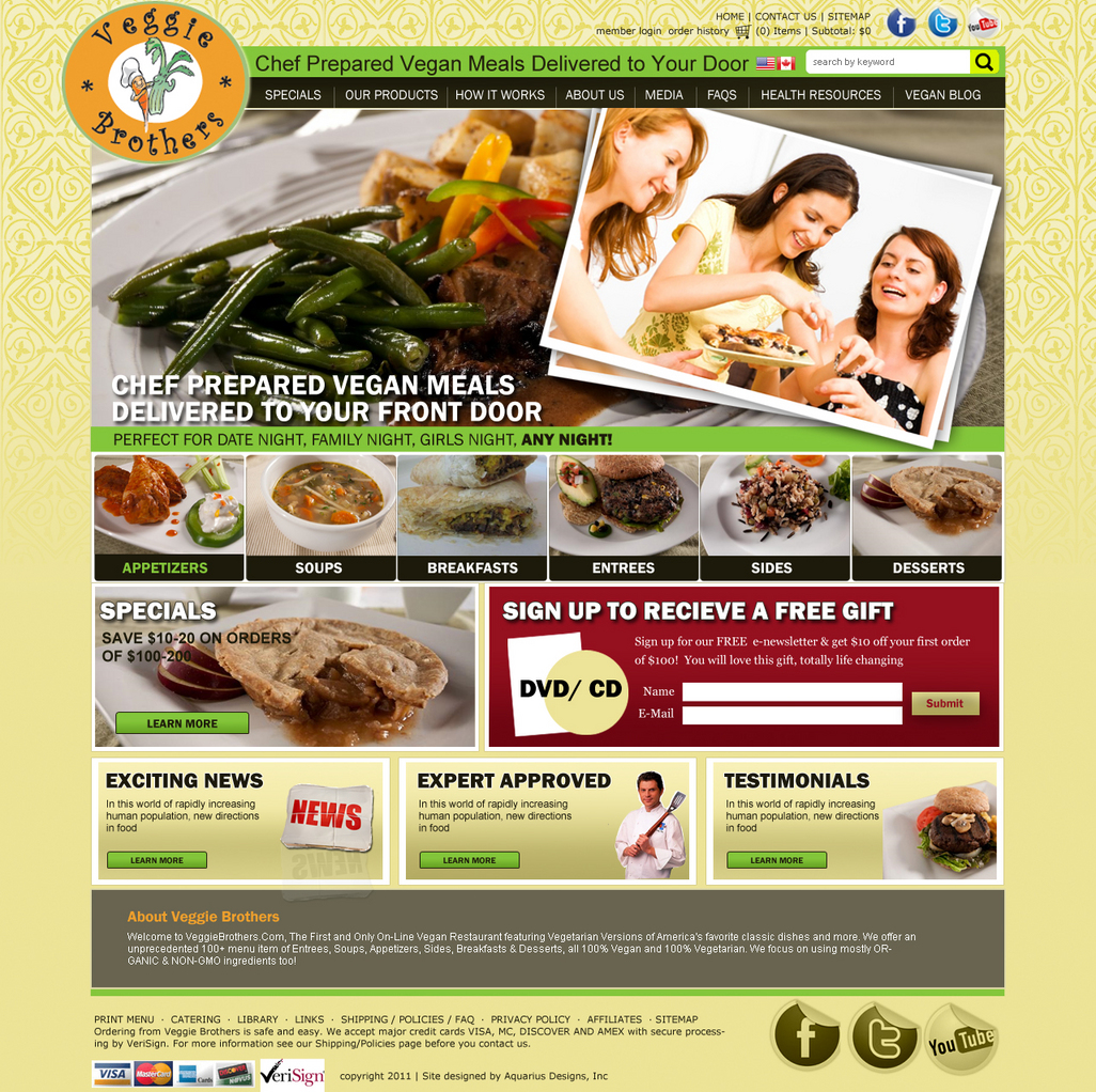 Veggie Brothers - Food Website Design